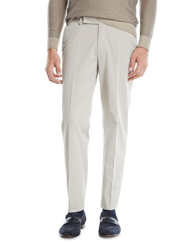Men's Flat-Front Cotton/Cashmere Chino Pants