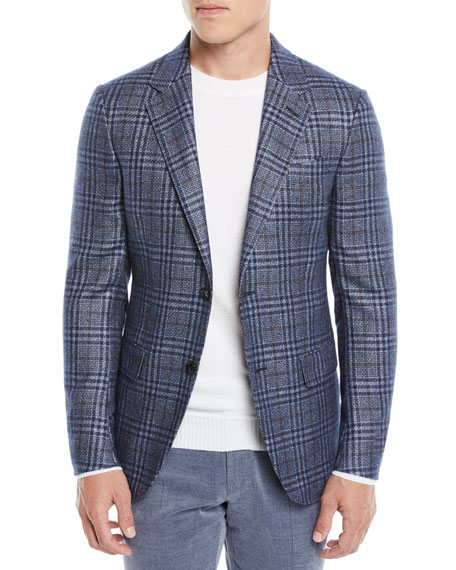 f1c57fe3 Men's Two-Tone Plaid Two-Button Jacket