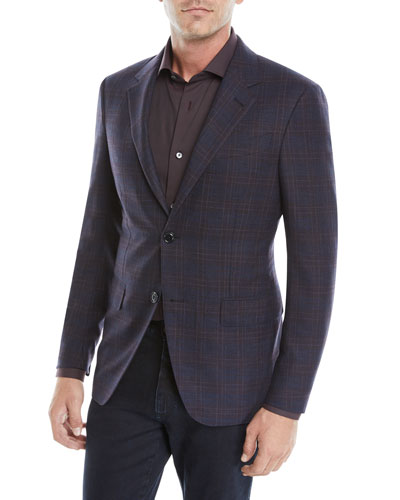 Men's Two-Button Plaid Jacket