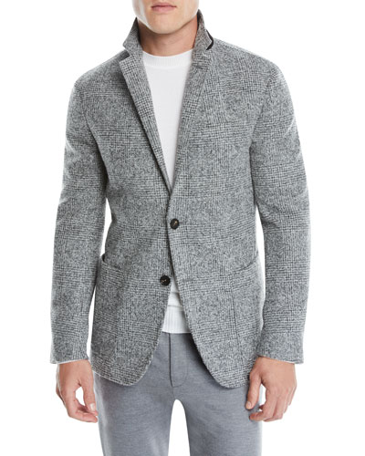 Men's Two-Button Plaid Alpaca/Wool Blazer Jacket