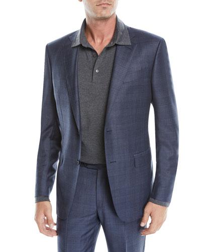 Men's Glen Check Wool Two-Button Suit