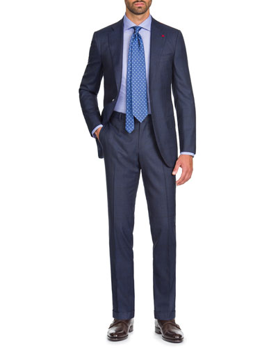 Men's Macro Plaid Two-Piece Wool Suit