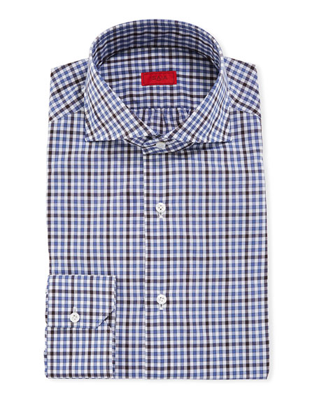Isaia Gingham Check Cotton Dress Shirt