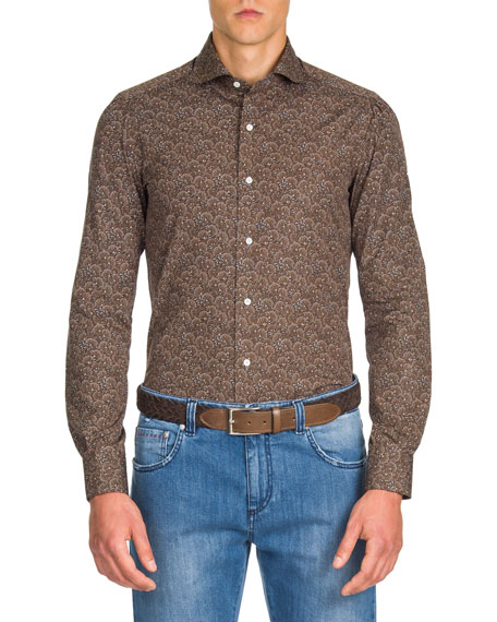 Men's Peacock Pattern Sport Shirt