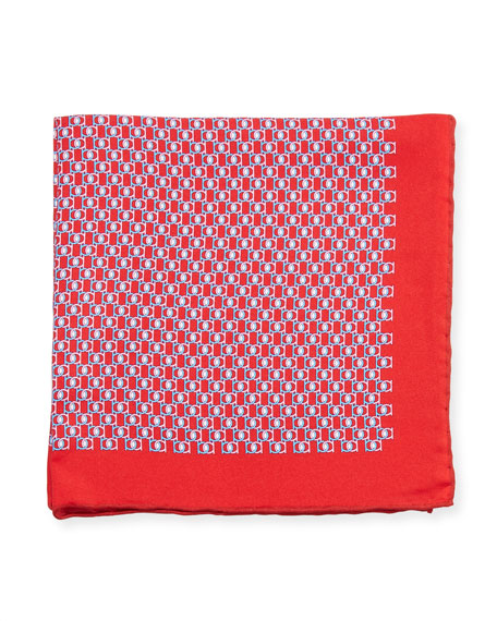 Fibbia Gancini Silk Pocket Square, Red