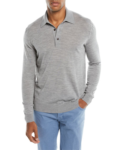 Kiton Men's Long-Sleeve Wool Polo Sweater