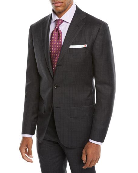 Kiton Men's Tonal Plaid Two-Piece Three-Button Suit