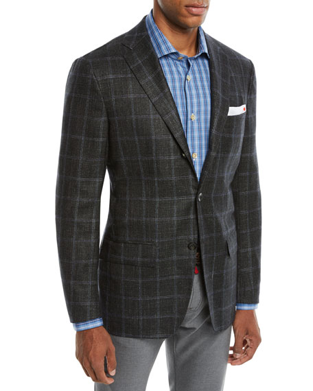 KITON Men'S Cashmere Triblend Windowpane Three-Button Sport Coat in Green
