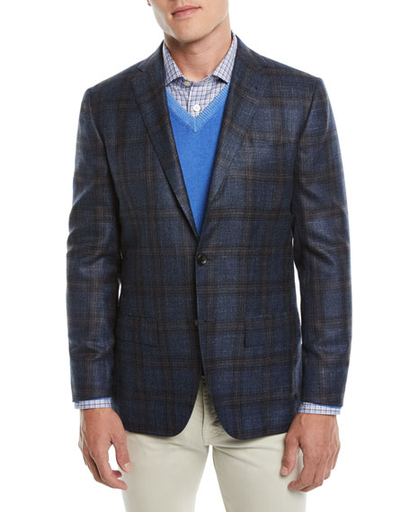 KITON Men'S Plaid Cashmere-Blend Sport Coat in Blue