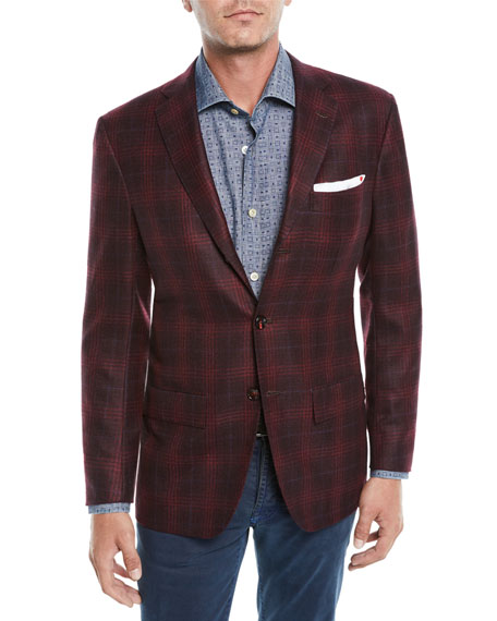KITON Men'S Plaid Cashmere 3-Button Sport Coat Jacket in Red
