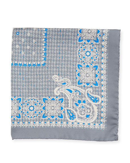 Kiton Houndstooth Silk Pocket Square