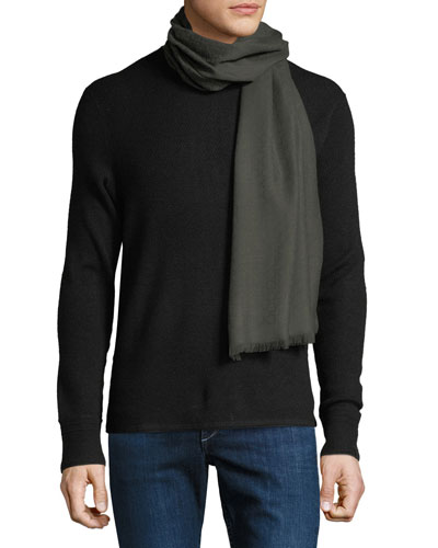 Men's Solid Wool Fringed Scarf