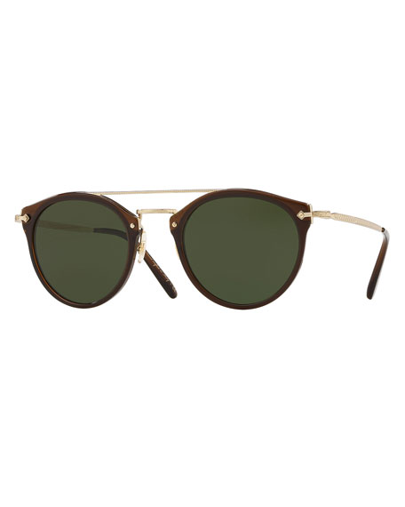 Oliver Peoples Men's Row Remick Round Metal/Acetate Sunglasses