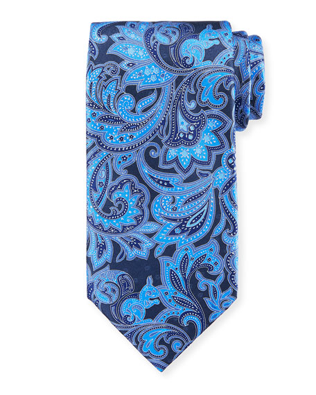 Ermenegildo Zegna Large Paisley Silk Tie, Blue
