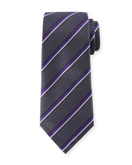 Diagonal Stripe Silk Tie, Gray/Purple