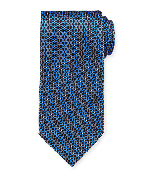 Ermenegildo Zegna Connected Flowers Silk Tie, Blue