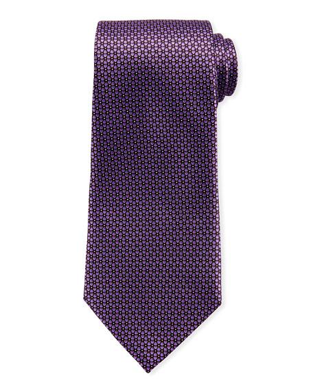 Ermenegildo Zegna Connected Flowers Silk Tie, Purple