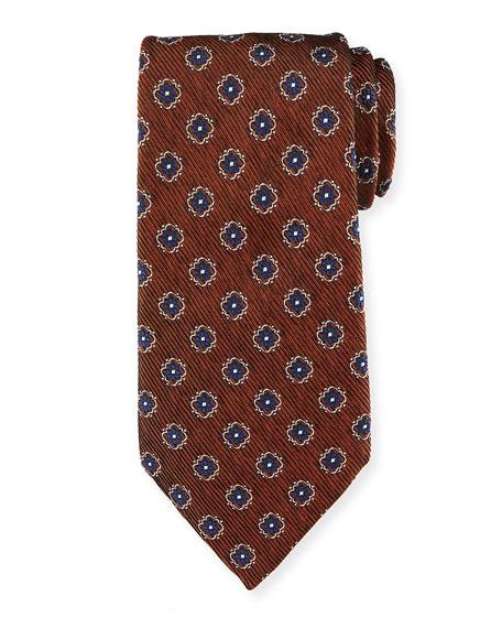 Fancy Box Silk Tie, Rust Red