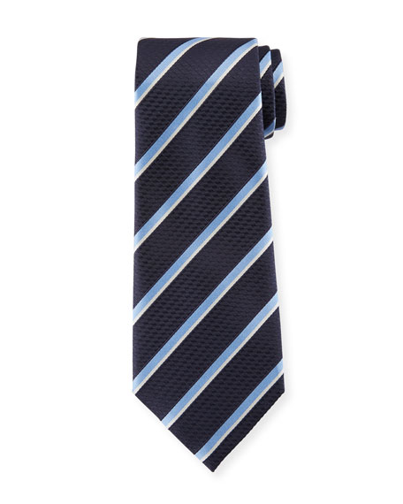 Ermenegildo Zegna Diagonal Striped Silk Tie, Navy/Light Blue