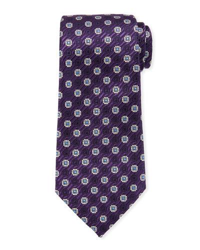 Woven Medallions Silk Tie, Purple