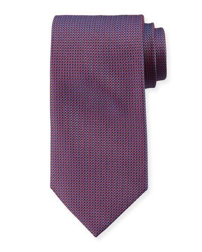 Micro-Herringbone Silk Tie