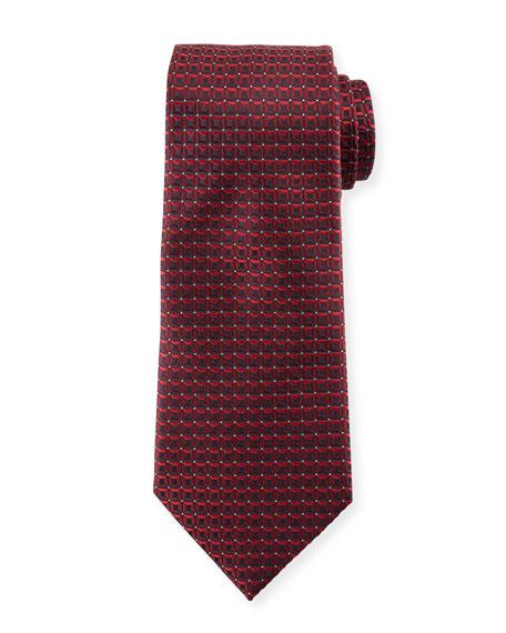 Ermenegildo Zegna 3D Box Silk Tie, Burgundy