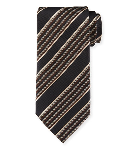 Diagonal Multi-Stripe Silk Tie