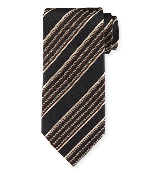 Ermenegildo Zegna Diagonal Multi-Stripe Silk Tie