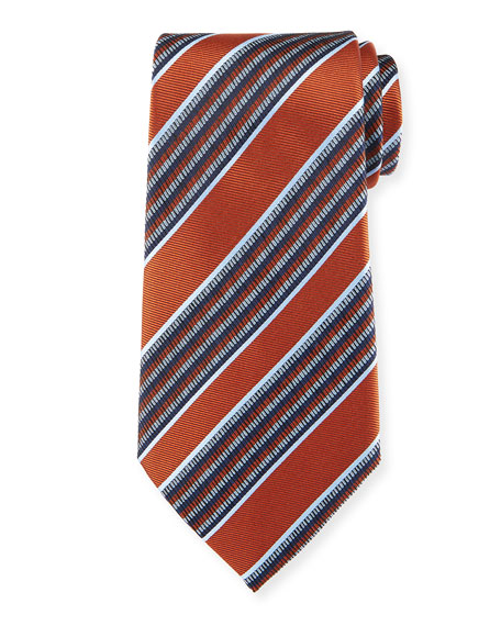 Ermenegildo Zegna Diagonal Multi-Stripe Silk Tie, Rust Red
