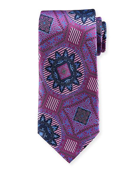 Ermenegildo Zegna Macro Medallions Print Silk Tie, Purple