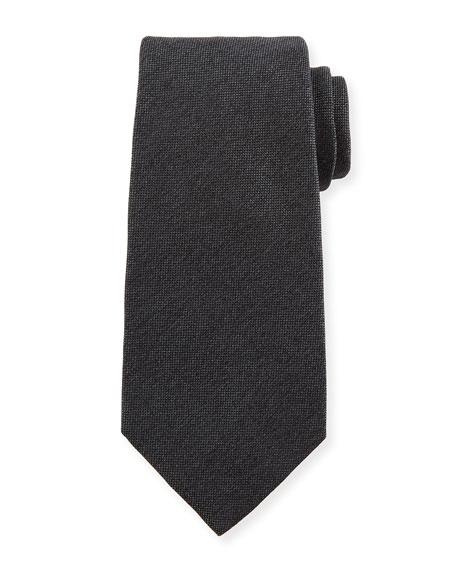 Kiton Textured Solid Silk Tie, Gray