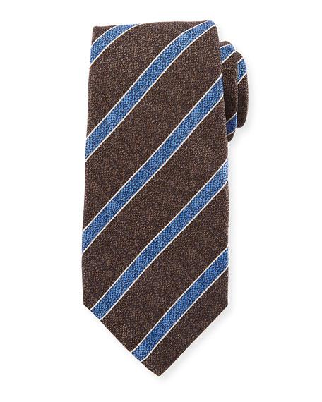 Kiton Textured Medium Stripe Silk Tie, Brown
