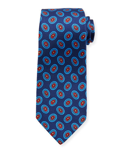 Fancy Ovals Silk Tie, Blue