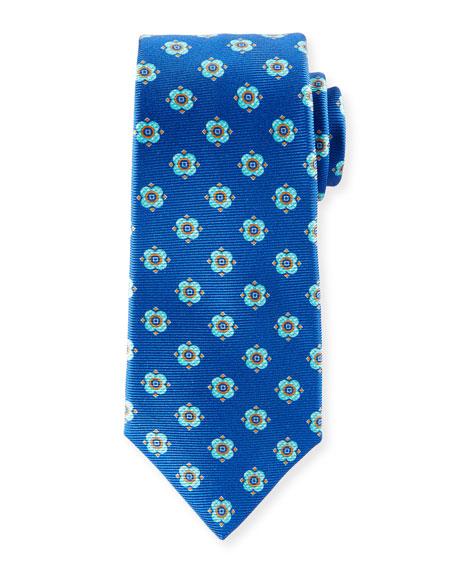 Kiton Flower Dots Silk Tie, Royal