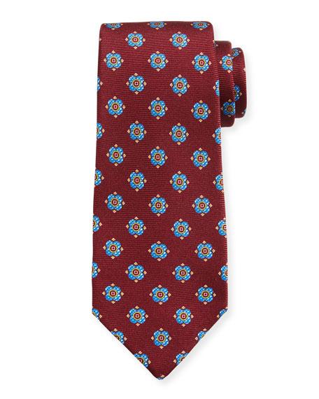 Kiton Flower Dots Silk Tie, Red