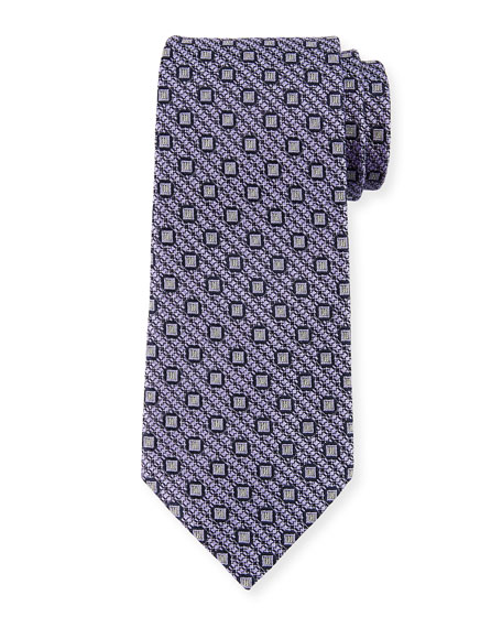 Ermenegildo Zegna Box-on-Jacquard Silk Tie, Purple