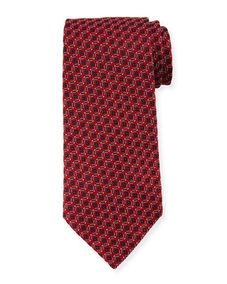 Ermenegildo Zegna Box-in-Circle Silk Tie, Red