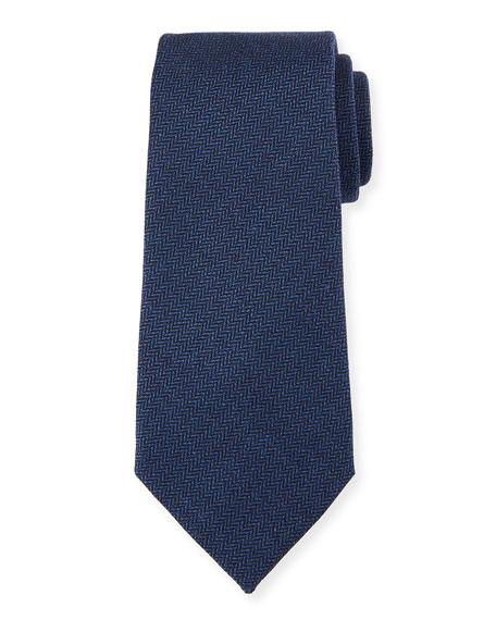 Ermenegildo Zegna Herringbone Silk Tie, Blue