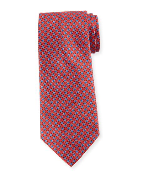 Ermenegildo Zegna Printed Lattice Silk Tie, Red