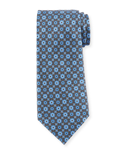 Geometric Flower Silk Tie