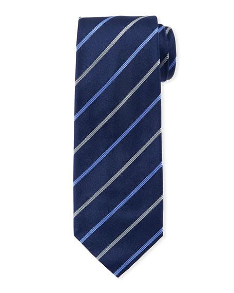 Isaia Diagonal Satin Striped Silk Tie