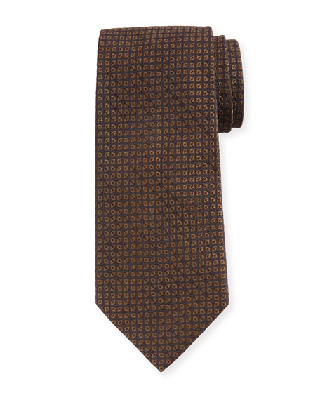Tonal Ovals Silk Tie, Brown