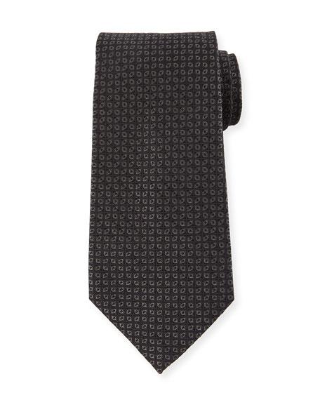 Tonal Ovals Silk Tie, Black