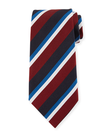 Ermenegildo Zegna Four-Color Stripe Silk Tie, Red