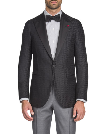 ISAIA MEN'S HOUNDSTOOTH GROSGRAIN-LAPEL DINNER JACKET
