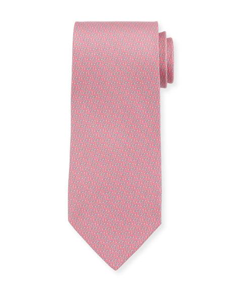 Salvatore Ferragamo Forte Interlocking Gancini Silk Tie, Pink