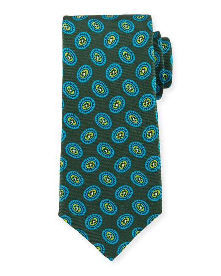 Kiton Fancy Ovals Silk Tie, Green