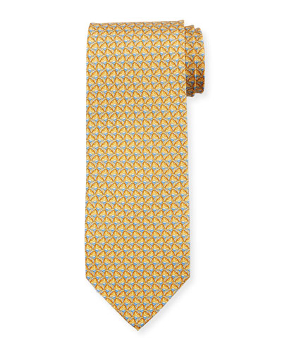 Faggio Leaf Printed Silk Tie, Yellow