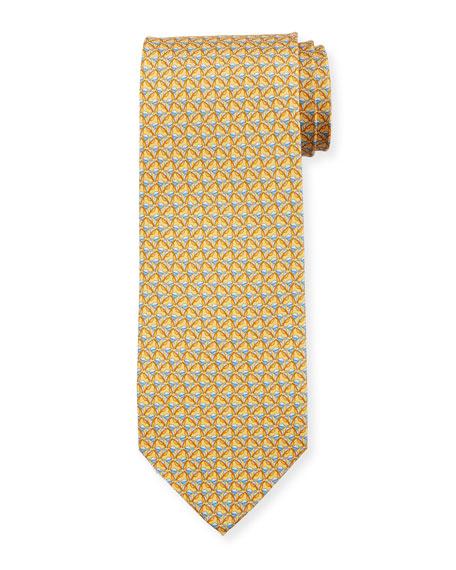 Salvatore Ferragamo Faggio Leaf Printed Silk Tie, Yellow