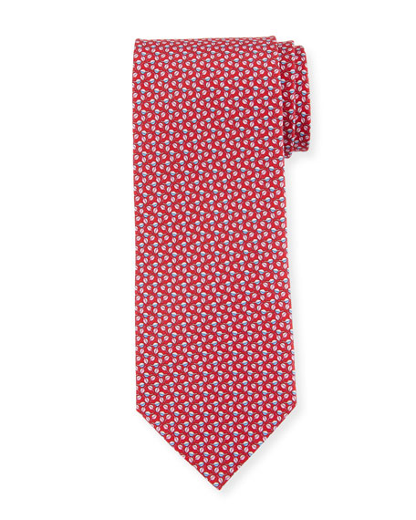Salvatore Ferragamo Faggio Leaf Printed Silk Tie, Red